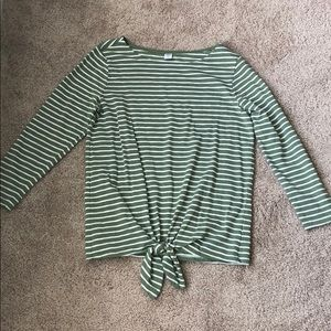 Old Navy Olive Green and White Striped Shirt